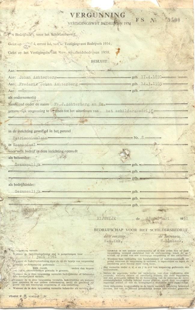 1961 vestigingsvergunning