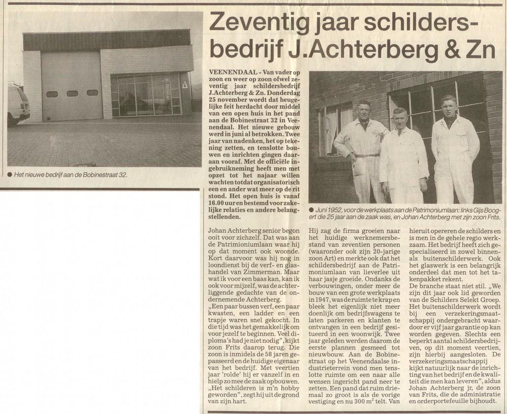 1993 Artikel Rijnpost 70 jaar Achterberg Schilders