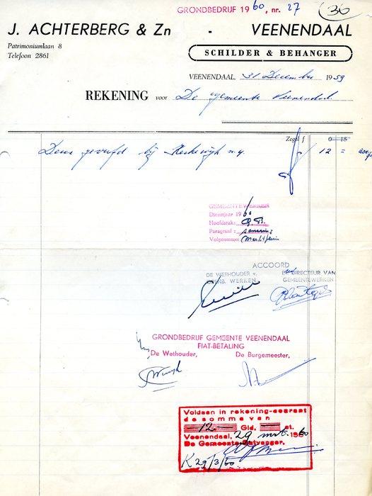 1959 briefpapier Achterberg Schilders